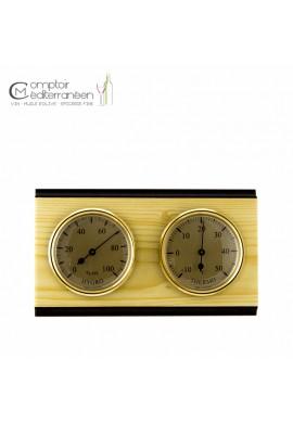 Thermomètre / hygromètre mural sur cadre bois double cadran métal or